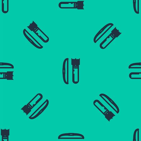 Blue line Bow and arrow in quiver icon isolated seamless pattern on green background. Vector Illustration