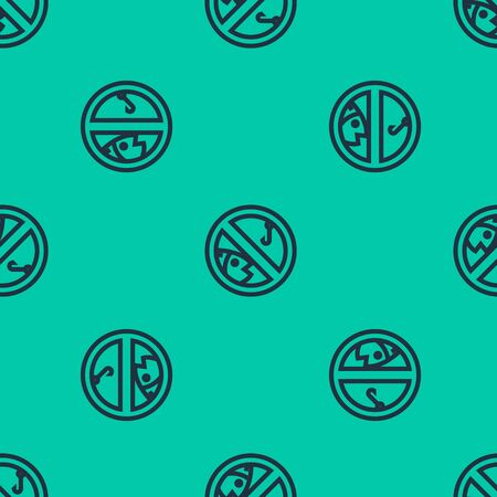 Blue line No fishing icon isolated seamless pattern on green background. Prohibition sign. Vector Illustration