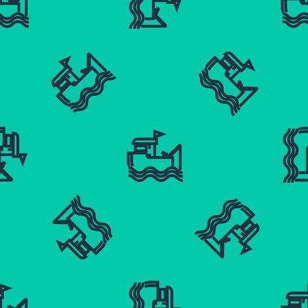 Blue line Fishing boat with fishing rod on water icon isolated seamless pattern on green background. Vector Illustration  イラスト・ベクター素材