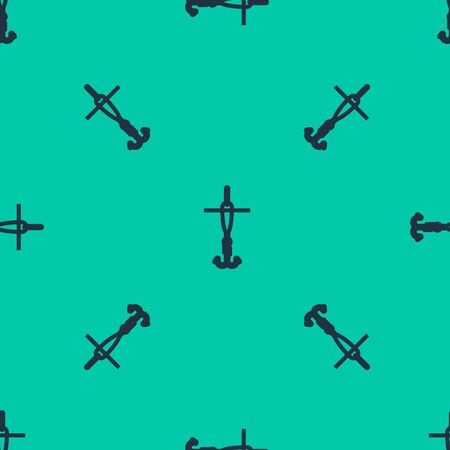 Blue line Fishing hook and float icon isolated seamless pattern on green background. Fishing tackle. Vector Illustration 일러스트