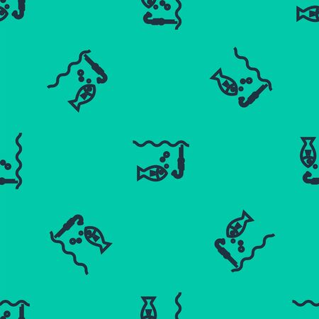 Blue line Fishing hook under water with fish icon isolated seamless pattern on green background. Fishing tackle. Vector Illustration