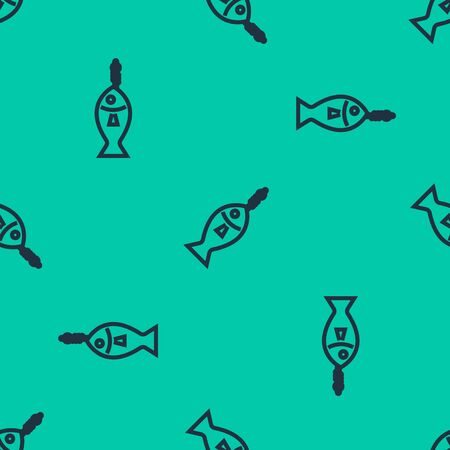 Blue line Fish on hook icon isolated seamless pattern on green background. Vector Illustration Ilustração