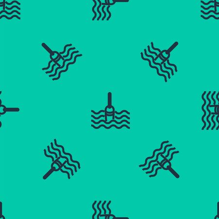 Blue line Fishing float in water icon isolated seamless pattern on green background. Fishing tackle. Vector Illustration