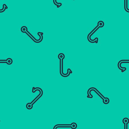 Blue line Fishing hook icon isolated seamless pattern on green background. Fishing tackle. Vector Illustration  イラスト・ベクター素材
