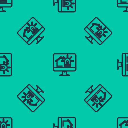 Blue line Computer monitor with smart house and alarm icon isolated seamless pattern on green background. Security system of smart home. Vector Illustration