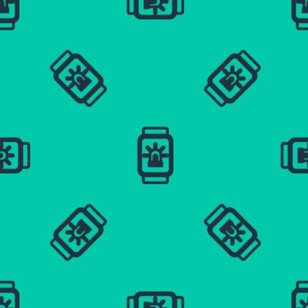 Blue line Smart watch with smart house and alarm icon isolated seamless pattern on green background. Security system of smart home. Vector Illustration