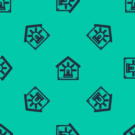 Blue line Smart house and alarm icon isolated seamless pattern on green background. Security system of smart home. Vector Illustration