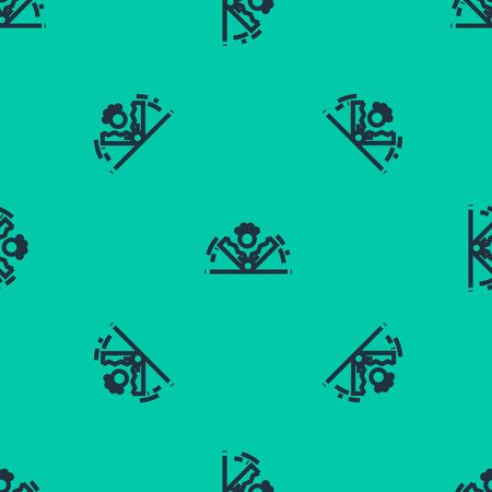 Blue line Trap hunting icon isolated seamless pattern on green background. Vector Illustration Иллюстрация