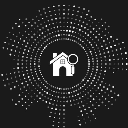 White Search house icon isolated on grey background. Real estate symbol of a house under magnifying glass. Abstract circle random dots. Vector Illustration Ilustracja