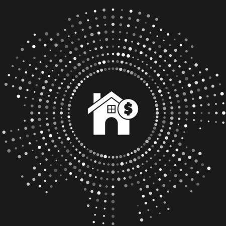 White House with dollar symbol icon isolated on grey background. Home and money. Real estate concept. Abstract circle random dots. Vector Illustration