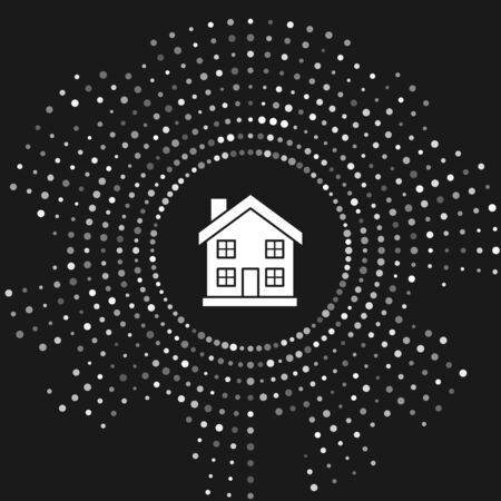 White House icon isolated on grey background. Home symbol. Abstract circle random dots. Vector Illustration