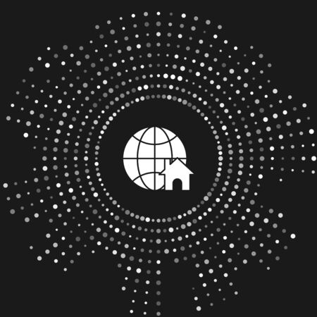 White Globe with house symbol icon isolated on grey background. Real estate concept. Abstract circle random dots. Vector Illustration