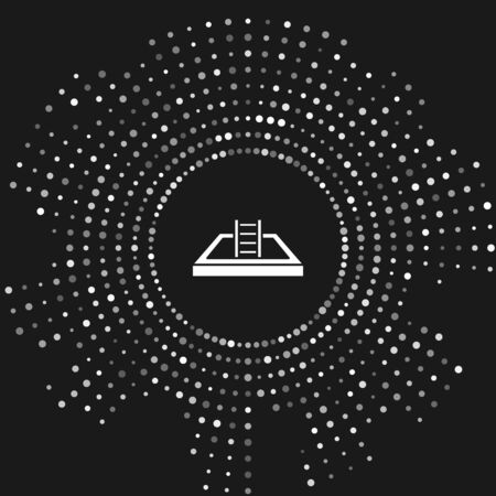 White Swimming pool with ladder icon isolated on grey background. Abstract circle random dots. Vector Illustration Çizim
