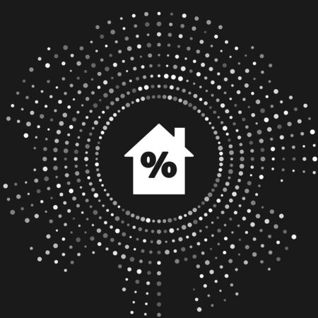White House with percant discount tag icon isolated on grey background. House percentage sign price. Real estate home. Abstract circle random dots. Vector Illustration