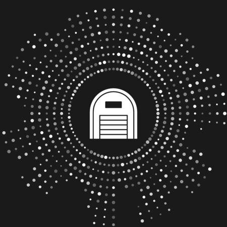 White Warehouse icon isolated on grey background. Abstract circle random dots. Vector Illustration Çizim