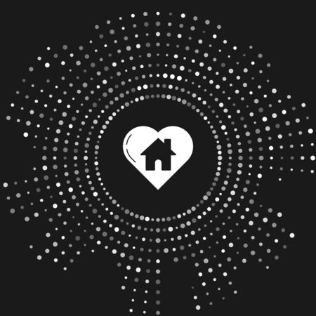White House with heart shape icon isolated on grey background. Love home symbol. Family, real estate and realty. Abstract circle random dots. Vector Illustration