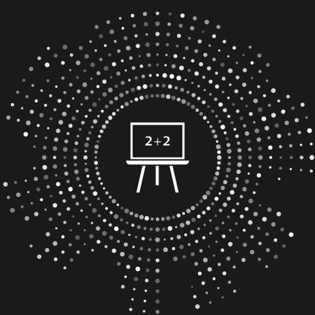 White Chalkboard icon isolated on grey background. School Blackboard sign. Abstract circle random dots. Vector Illustration Stock Illustratie