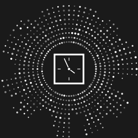 White Clock icon isolated on grey background. Time symbol. Abstract circle random dots. Vector Illustration