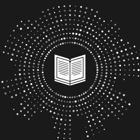 White Open book icon isolated on grey background. Abstract circle random dots. Vector Illustration Stock Illustratie