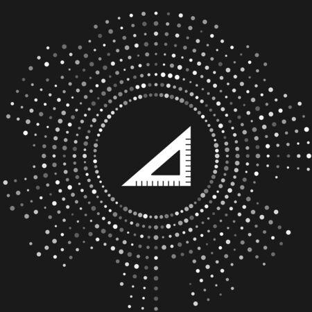 White Triangular ruler icon isolated on grey background. Straightedge symbol. Geometric symbol. Abstract circle random dots. Vector Illustration