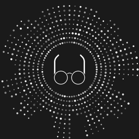 White Glasses icon isolated on grey background. Eyeglass frame symbol. Abstract circle random dots. Vector Illustration
