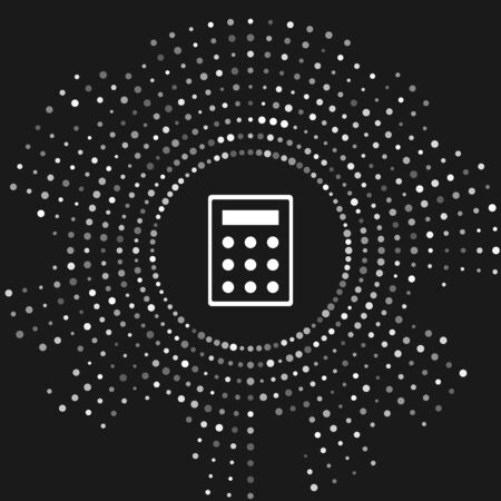 White Calculator icon isolated on grey background. Accounting symbol. Business calculations mathematics education and finance. Abstract circle random dots. Vector Illustration