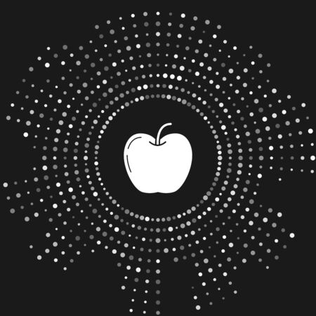 White Apple icon isolated on grey background. Fruit with leaf symbol. Abstract circle random dots. Vector Illustration Çizim