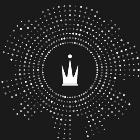 White Crown icon isolated on grey background. Abstract circle random dots. Vector Illustration Çizim