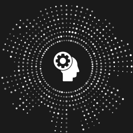 White Human head with gear inside icon isolated on grey background. Artificial intelligence. Thinking brain sign. Symbol work of brain. Abstract circle random dots. Vector Illustration  イラスト・ベクター素材