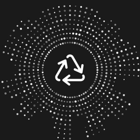White Recycle symbol icon isolated on grey background. Circular arrow icon. Environment recyclable go green. Abstract circle random dots. Vector Illustration