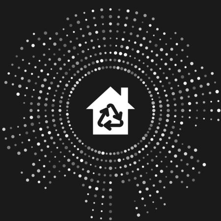 White Eco House with recycling symbol icon isolated on grey background. Ecology home with recycle arrows. Abstract circle random dots. Vector Illustration