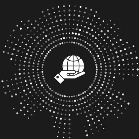 White Human hands holding Earth globe icon isolated on grey background. Save earth concept. Abstract circle random dots. Vector Illustration