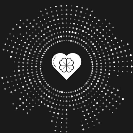 White Heart with four leaf clover icon isolated on grey background. Happy Saint Patrick day. Abstract circle random dots. Vector Illustration