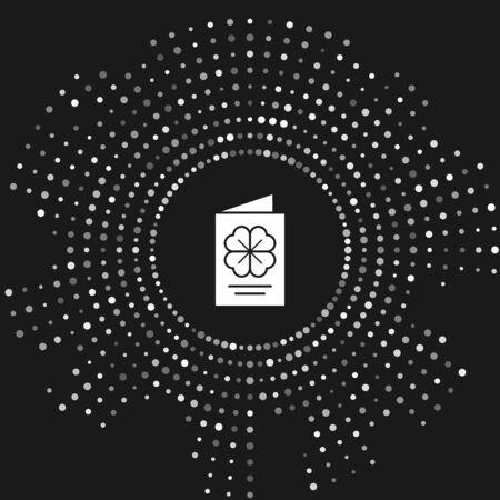 White Saint Patricks Day party flyer, brochure, holiday invitation, postcard, corporate celebration icon isolated on grey background. Abstract circle random dots. Vector Illustration Ilustracja