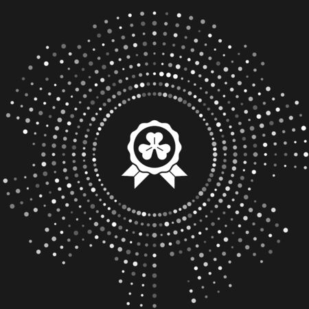 White Medal with four leaf clover icon isolated on grey background. Happy Saint Patrick day. Abstract circle random dots. Vector Illustration Çizim