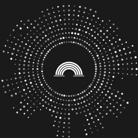 White Rainbow with clouds icon isolated on grey background. Abstract circle random dots. Vector Illustration