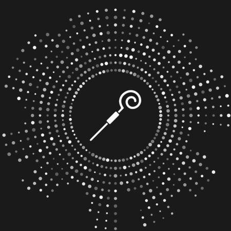 White Walking stick icon isolated on grey background. Happy Saint Patricks day. Abstract circle random dots. Vector Illustration Ilustracja