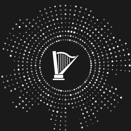 White Harp icon isolated on grey background. Classical music instrument, orhestra string acoustic element. Abstract circle random dots. Vector Illustration