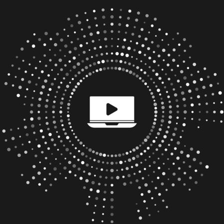 White Online play video icon isolated on grey background. Laptop and film strip with play sign. Abstract circle random dots. Vector Illustration Illusztráció