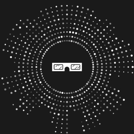White 3D cinema glasses icon isolated on grey background. Abstract circle random dots. Vector Illustration Ilustração
