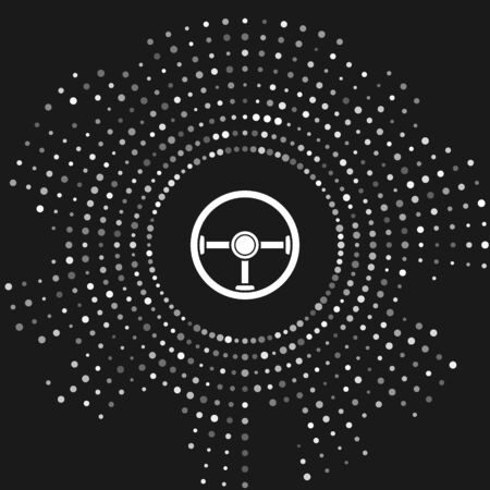 White Steering wheel icon isolated on grey background. Car wheel icon. Abstract circle random dots. Vector Illustration Banco de Imagens - 133643317