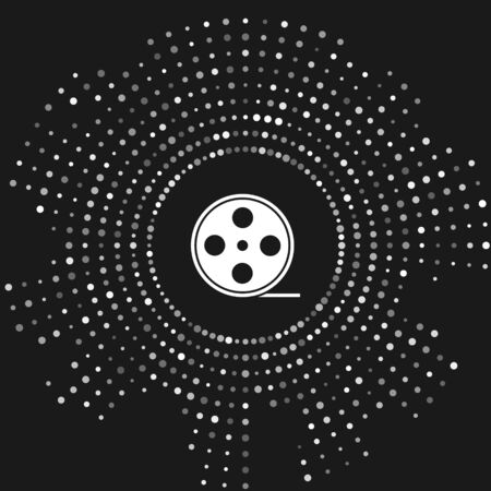 White Film reel icon isolated on grey background. Abstract circle random dots. Vector Illustration