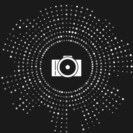 White Photo camera icon isolated on grey background. Foto camera icon. Abstract circle random dots. Vector Illustration Иллюстрация