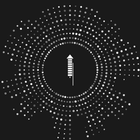 Icono de cohete de fuegos artificiales blanco aislado sobre fondo gris. Concepto de fiesta divertida. Símbolo pirotécnico explosivo. Puntos aleatorios de círculo abstracto. Ilustración vectorial