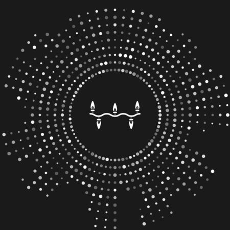 White Christmas lights icon isolated on grey background. Merry Christmas and Happy New Year. Abstract circle random dots. Vector Illustration