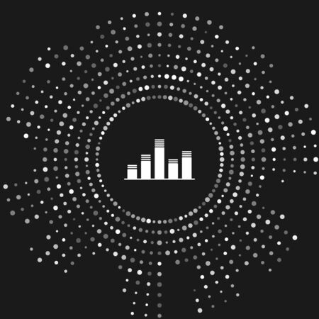 White Music equalizer icon isolated on grey background. Sound wave. Audio digital equalizer technology, console panel, pulse musical. Abstract circle random dots. Vector Illustration Иллюстрация