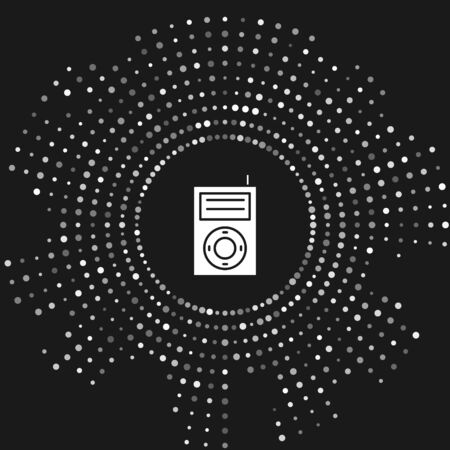 White Music MP3 player icon isolated on grey background. Portable music device. Abstract circle random dots. Vector Illustration Фото со стока - 133643452