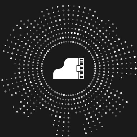 White Grand piano icon isolated on grey background. Musical instrument. Abstract circle random dots. Vector Illustration Фото со стока - 133643455