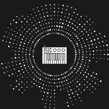 White Music synthesizer icon isolated on grey background. Electronic piano. Abstract circle random dots. Vector Illustration Фото со стока - 133643463