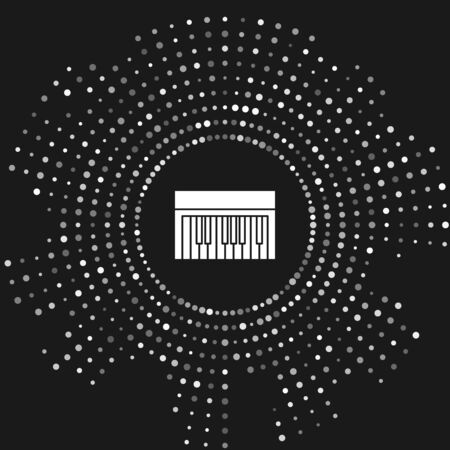 White Music synthesizer icon isolated on grey background. Electronic piano. Abstract circle random dots. Vector Illustration Фото со стока - 133643459